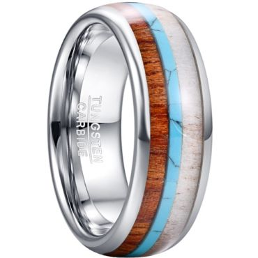COI Tungsten Carbide Deer Antler Turquoise Wood Dome Court Ring-TG5464