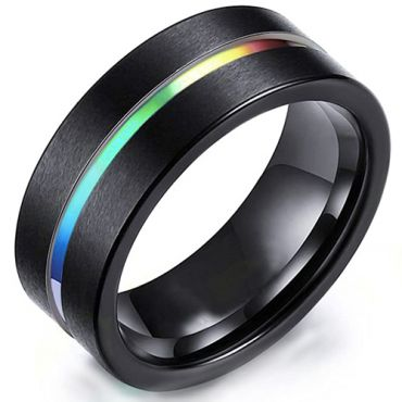 COI Black Tungsten Carbide Rainbow Pride Center Groove Ring-5471