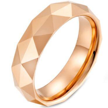 COI Tungsten Carbide Silver/Rose/Gold Tone Facet Ring-5475