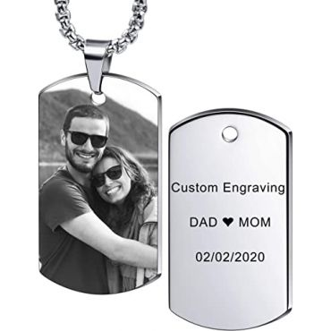 COI Tungsten Carbide Dog Tag Pendant With Custom Photo Engraving-5476