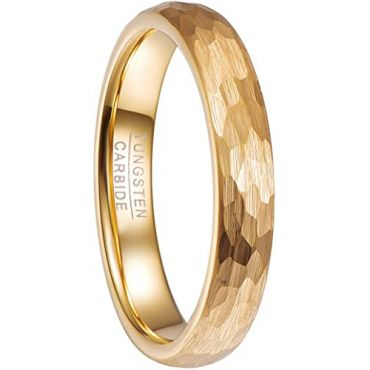 COI Gold Tone Tungsten Carbide 4mm Hammered Ring-5478