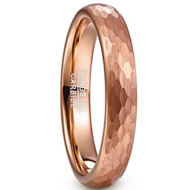 COI Rose Tungsten Carbide 4mm Hammered Ring-5479