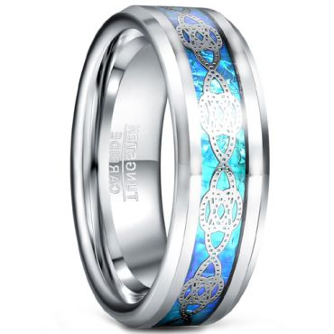 COI Tungsten Carbide Celtic Inlays Ring With Carbon Fiber-5485