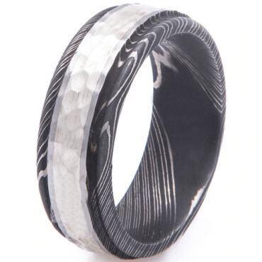 COI Tungsten Carbide Black Silver Hammered Damascus Step Edges Ring-5530