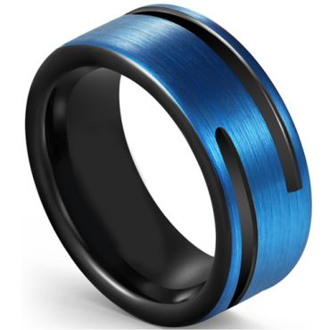 COI Tungsten Carbide Black Blue Double Grooves Pipe Cut Flat Ring-5591