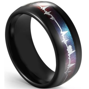 COI Black Tungsten Carbide Rainbow Pride Heartbeat Ring-5594