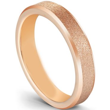 COI Rose Tungsten Carbide Sandblasted Beveled Edges Ring-5602