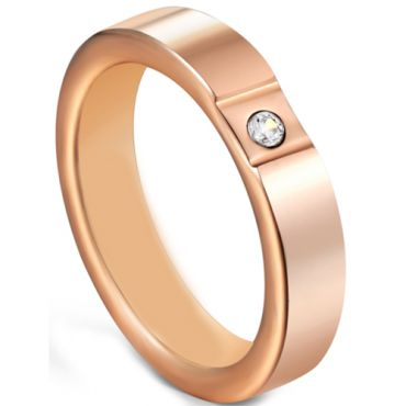 COI Rose Tungsten Carbide Ring With Cubic Zirconia-5605