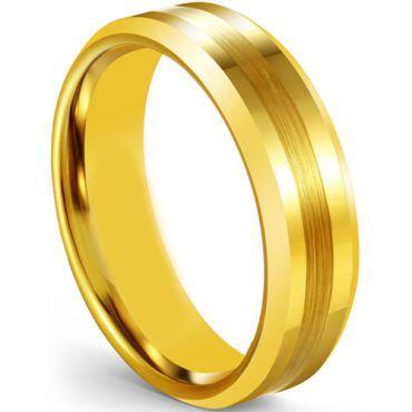*COI Gold Tone Tungsten Carbide Beveled Edges Ring-5606