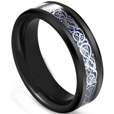 *COI Black Tungsten Carbide Dragon Beveled Edges Ring-5607