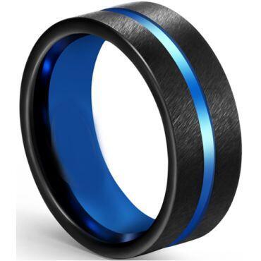 COI Tungsten Carbide Black Blue Center Groove Pipe Cut Flat Ring-5609