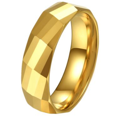 COI Gold Tone Tungsten Carbide Faceted Ring-5620
