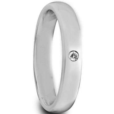 COI Tungsten Carbide Dome Court Ring With Cubic Zirconia-5624