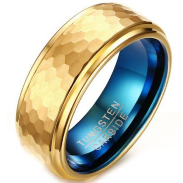 COI Tungsten Carbide Gold Tone Blue Hammered Step Edges Ring-5642