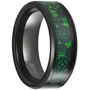 COI Black Tungsten Carbide Gears Beveled Edges Ring With Green Carbon Fiber-5649