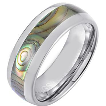 COI Tungsten Carbide Dome Court Ring With Abalone Shell-5661