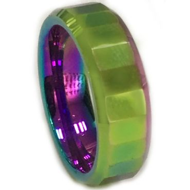 COI Tungsten Carbide Rainbow Pride Faceted Ring-5662