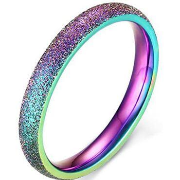 COI Tungsten Carbide Rainbow Pride Sandblasted Ring-5666
