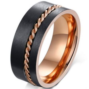 *COI Tungsten Carbide Black Rose Pipe Cut Flat Ring With Wire-5667