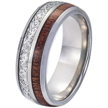 COI Tungsten Carbide Meteorite and Wood Dome Court Ring-5770