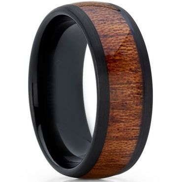 COI Black Tungsten Carbide Wood Dome Court Ring-5774
