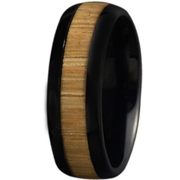 COI Black Tungsten Carbide Dome Court Ring With Wood-5777