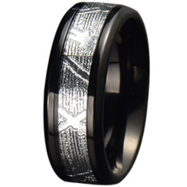 COI Black Tungsten Carbide Silver Inlays Beveled Edges Ring-5778