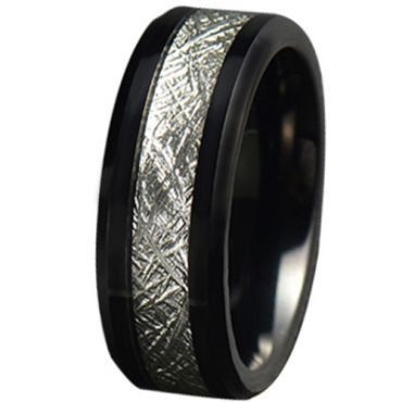 COI Black Tungsten Carbide Meteorite Beveled Edges Ring-5779
