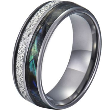 COI Tungsten Carbide Abalone Shell and Meteorite Dome Court Ring-5782