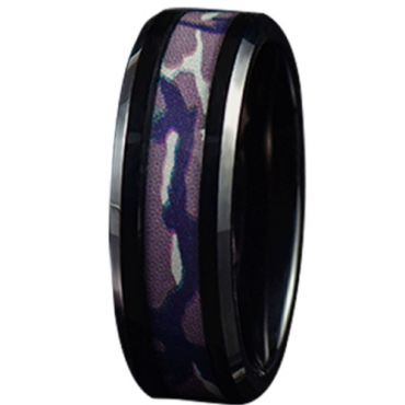 COI Black Tungsten Carbide Camo Beveled Edges Ring-5783