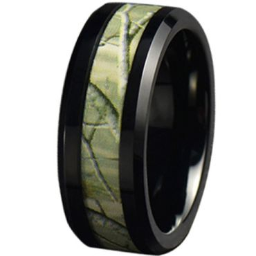COI Black Tungsten Carbide Camo Beveled Edges Ring-5787