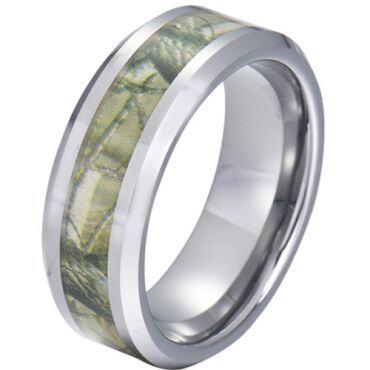 COI Tungsten Carbide Camo Beveled Edges Ring-5788