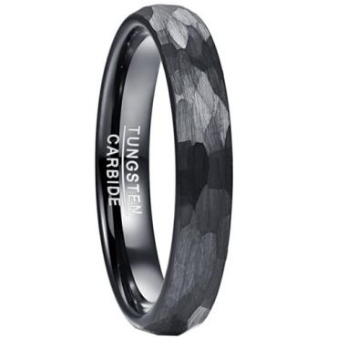 COI Black Tungsten Carbide Hammered Dome Court Ring-5829