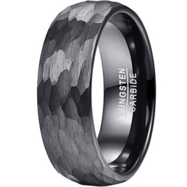 COI Black Tungsten Carbide Hammered Dome Court Ring-5830