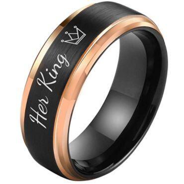 **COI Tungsten Carbide Black Rose Her King Crown Step Edges Ring-5851