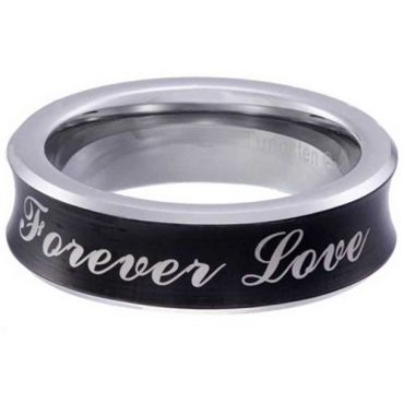 COI Tungsten Carbide Black Silver Forever Love Concave Ring-5854