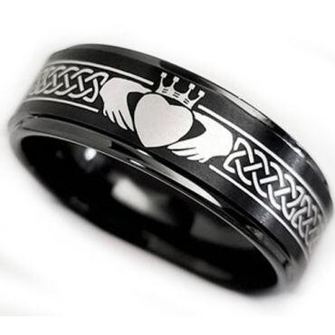 *COI Black Tungsten Carbide Mo Anam Cara Celtic Step Edges Ring-5862