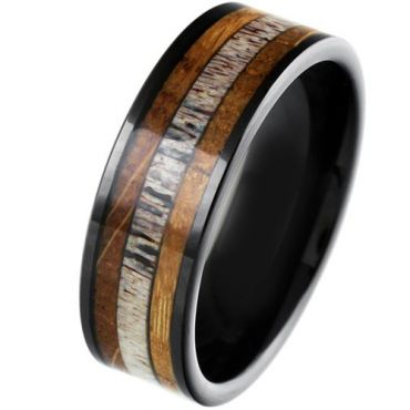 COI Black Tungsten Carbide Deer Antler & Wood Pipe Cut Flat Ring-5863