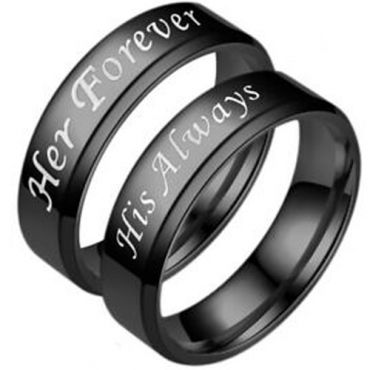 *COI Black Tungsten Carbide Her Forever His Always Beveled Edges Ring-5953