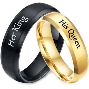 **COI Tungsten Carbide Black/Gold Tone Her King His Queen Beveled Edges Ring-5954