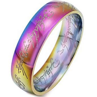 *COI Tungsten Carbide Rainbow Pride Lord of the Ring Dome Court Ring-6002