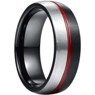 *COI Tungsten Carbide Black Red Silver Center Groove Dome Court Ring-6007