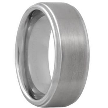 *COI Tungsten Carbide High Polished Satin Finished Step Edges Ring - TG614