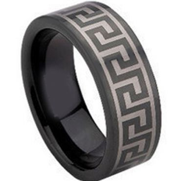 COI Black Tungsten Carbide Greek Key Pipe Cut Flat Ring-TG673