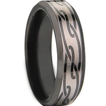 COI Black Tungsten Carbide Celtic Beveled Edges Ring - TG674