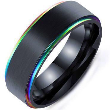 **COI Tungsten Carbide Black Rainbow Pride Step Edges Ring-6832