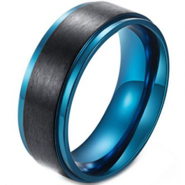 **COI Tungsten Carbide Black Blue Step Edges Ring-6833