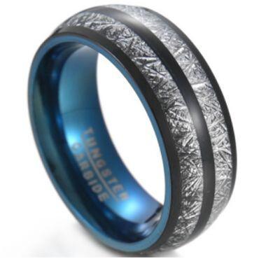 **COI Tungsten Carbide Black Blue Meteorite Ring-6834