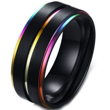 **COI Tungsten Carbide Black Rainbow Pride Center Groove Step Edges Ring-6838