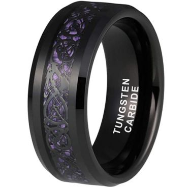 *COI Black Tungsten Carbide Dragon Beveled Edges Ring With Purple Carbon Fiber-6861